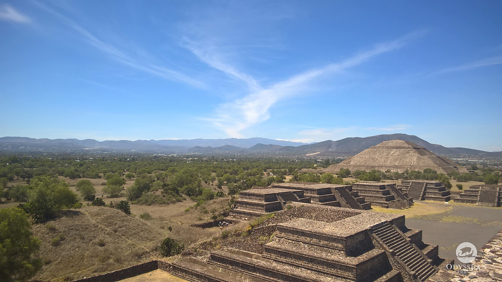 blue skies over pyramids in Mexico, the pyramid of the sun near Mexico City