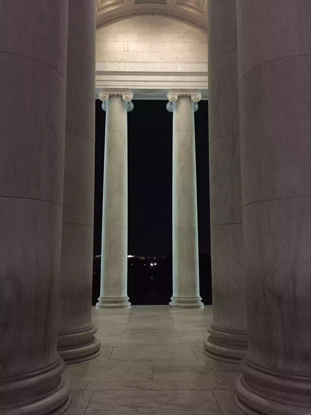 Columns of the Jefferson Memorial at night