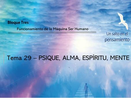 TEMA 29: PSIQUE, ALMA, ESPÍRITU, MENTE