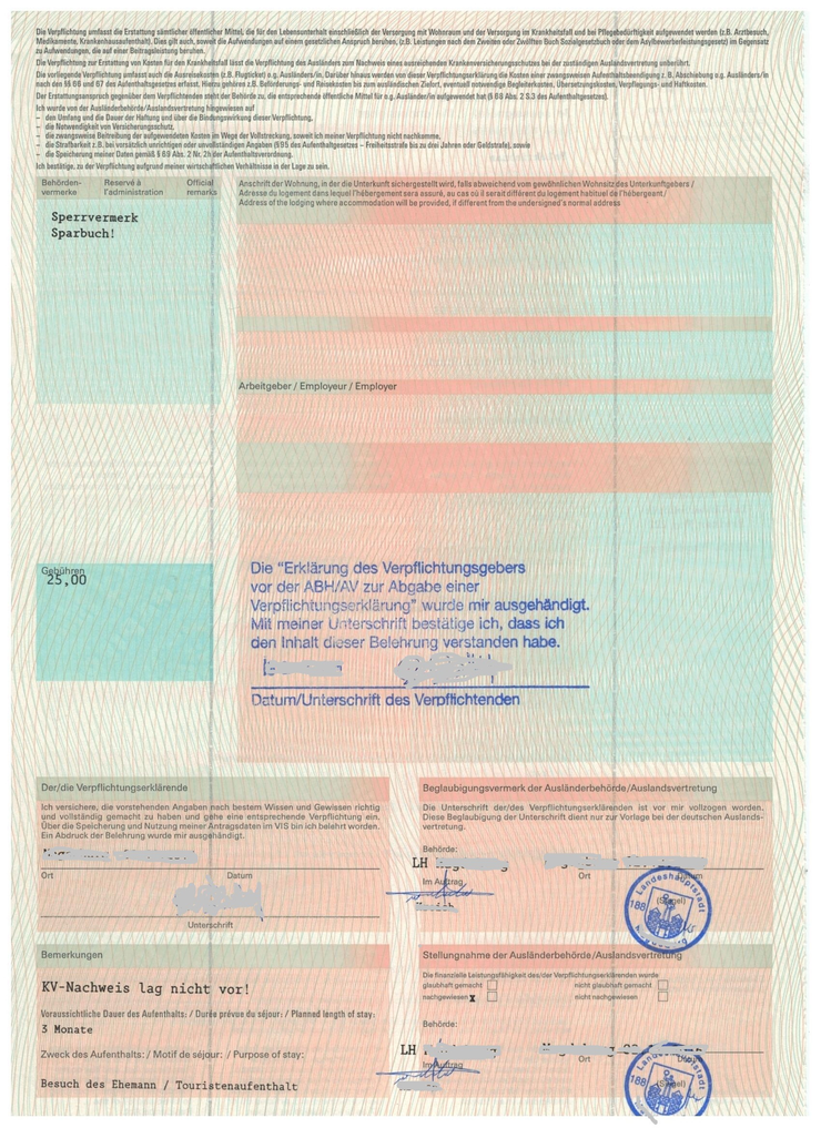 2 bank account etc - Verpflichtungserklarung Muster