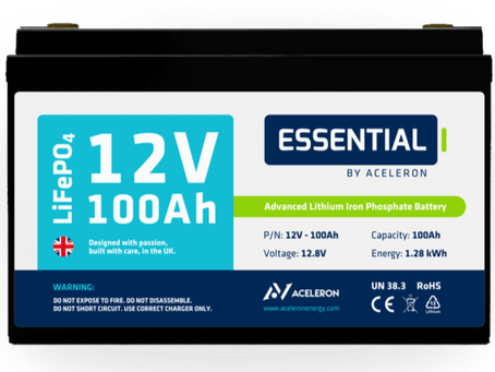 Our Batteries - 'Essential' LiFePO4 12V 100ah from Aceleron Energy