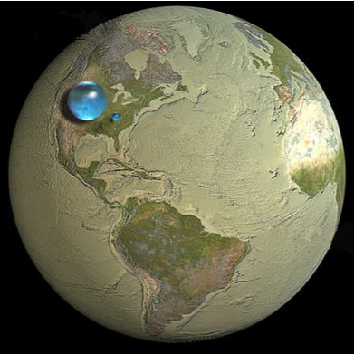 Proportional representation of the fresh water available on earth.