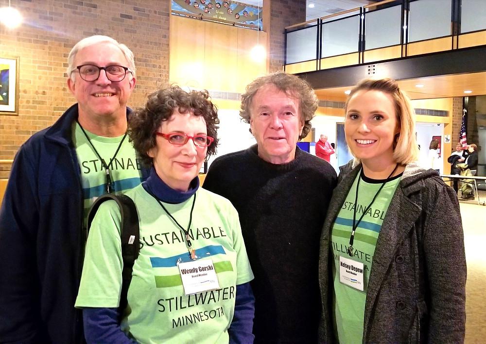 (l to r) SSMN Board members: Roger Tomten, Wendy Gorski, & Kelsey Depew with Will Steger