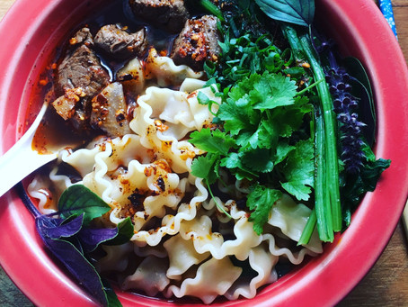 Asian Beef Noodle Soup with whole bunch of Hakurei Turnip