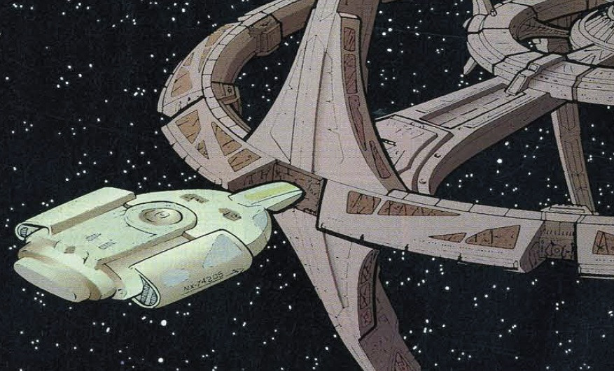 Artwork of the USS Defiant docking at DS9.
