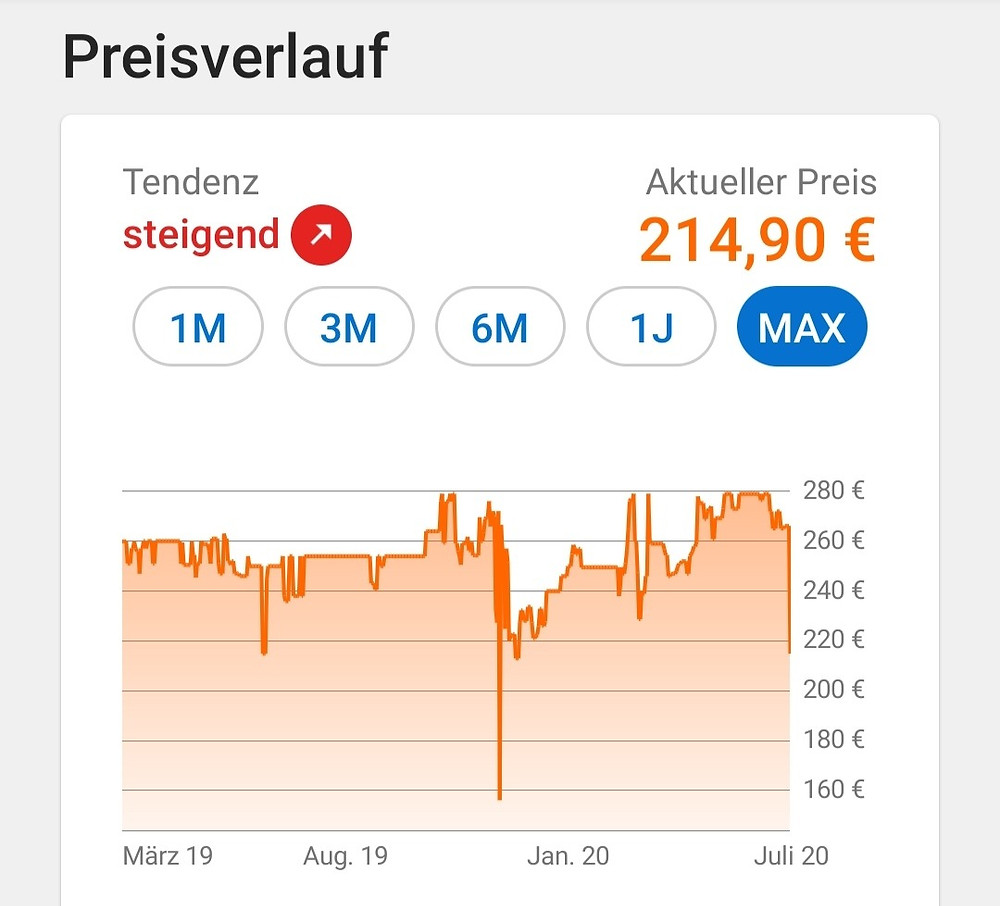 Preisverlauf DXRacer Formula laut Idealo.de