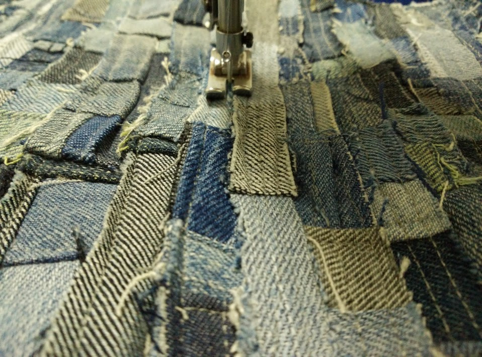 Top stitching jean remnants