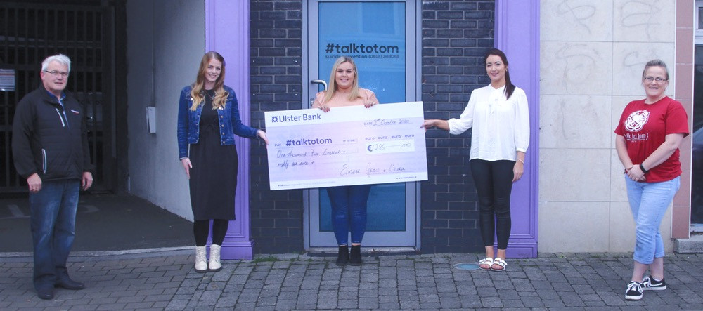 Talk to Tom CEO Ray Cullen, singers who recorded 'Sanctuary', Ciara Mullin, Eimear and Grace Sheehan with fundraiser, Colette Nolan at the presentation of €1,286 to the charity in Gorey last week