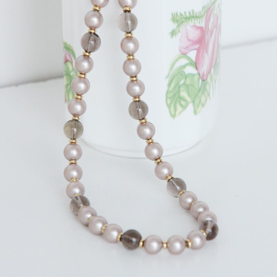 Smoky quartz, Swarovski pearls