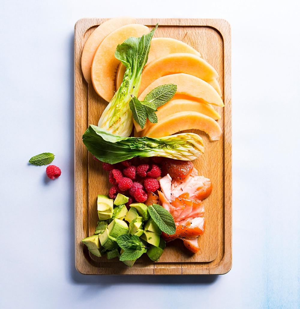 meliono ir lašišos salotos, Alfo receptai, idėja salotoms, salotų stalui, užkandžiai