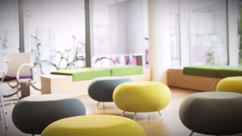Suministro de mobiliario para salas de espera y salas de descanso en oficinas