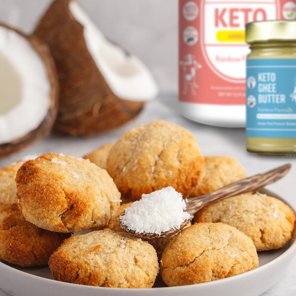 ギー&コラーゲンプロテインレシピ・ケト・ココナッツクッキー|Rainbow Farms