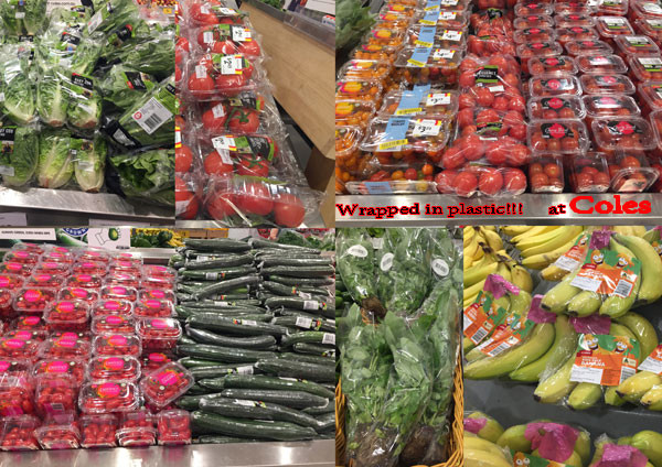 Fresh fruit and vegetables wrapped in plastic