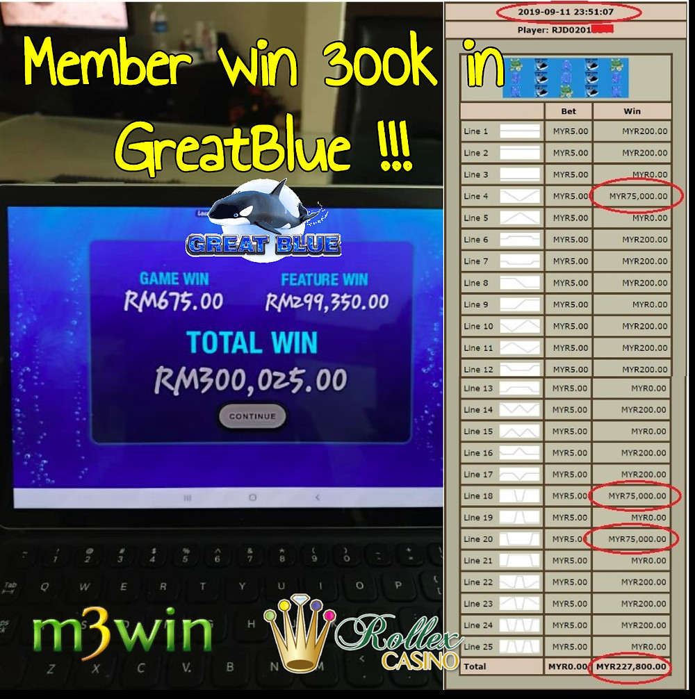 m3win member won RM 300,000 game record.