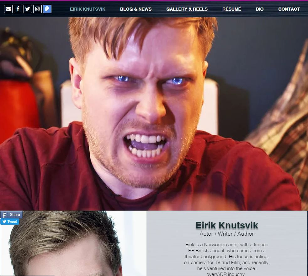 Main Page for Eirik Knutsvik's website, including showreel, production stills, social media, headshot and brief bio.