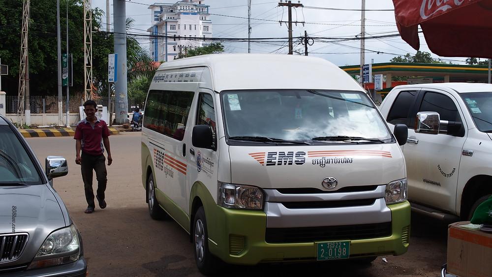The postal van took us from PP to Siem Reap