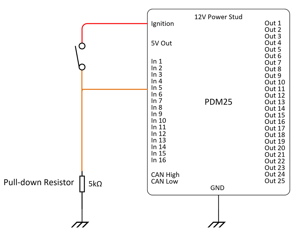 Pull down resistor for a battery connected switch.