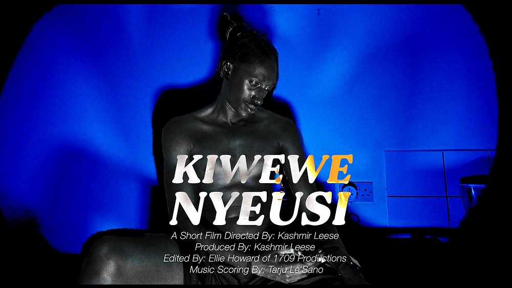 A troubled Black man sits against a blue backdrop, during lockdown isolation. Bold white text reads 'Kiwewe Nyeusi.'