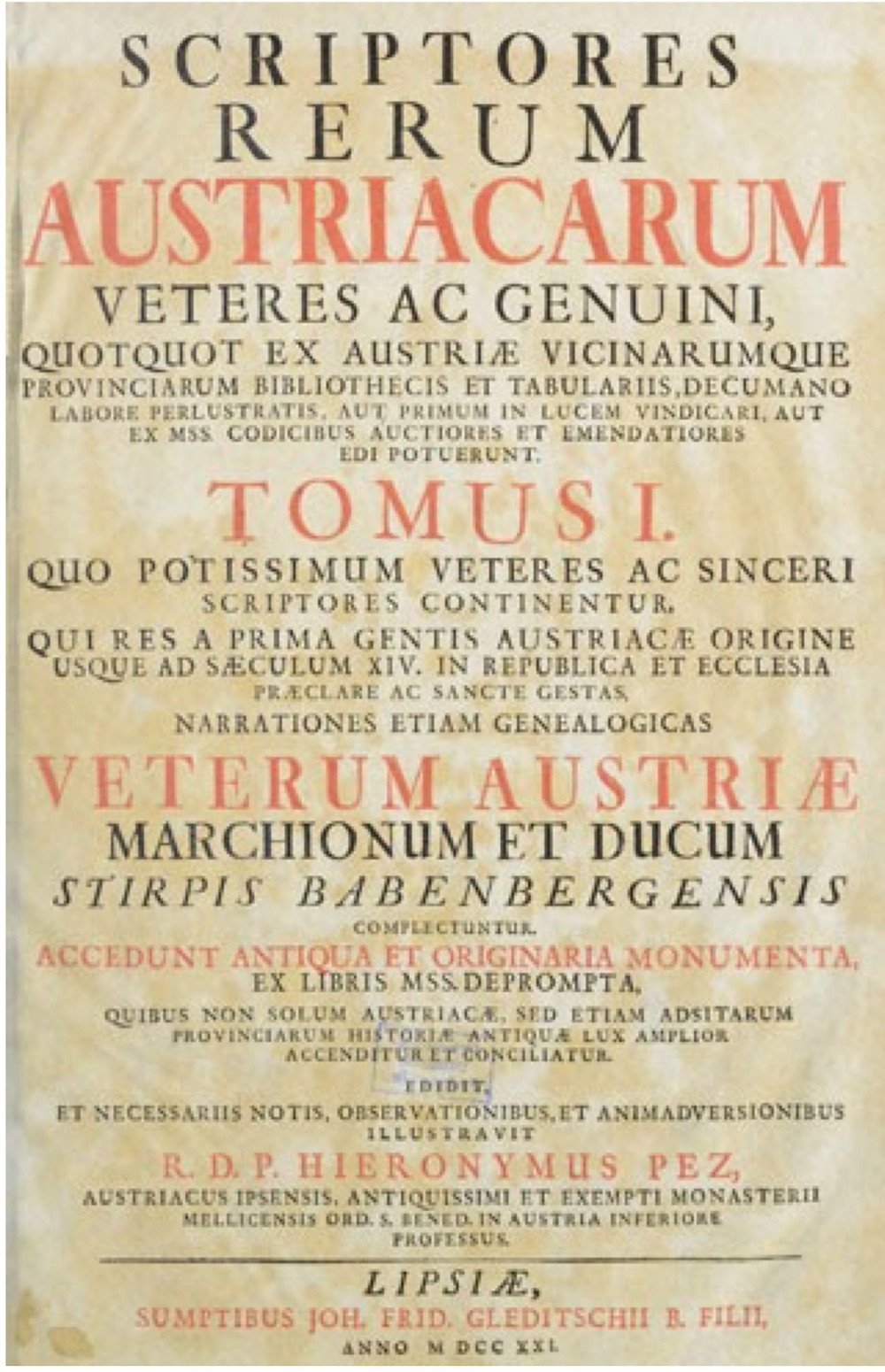 Fragment des Scriptores Renim Austriacanim de B. Pez.