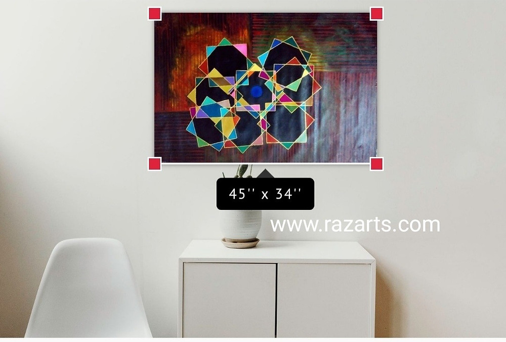 Geometry Cubism large canvas painting for sale