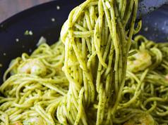 Pesto Pasta with Shrimp