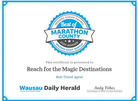 2020 Best Travel Agent of Marathon County!
