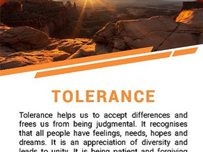 Tolerance is the theme for the month of May.