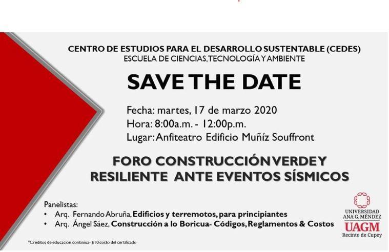 Foro: Construcción verde y resiliente antes eventos sísmicos