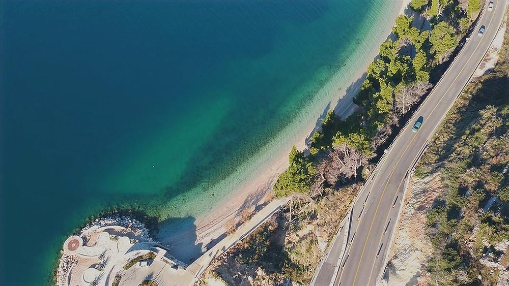 Adriatic Highway called Magistrala near Podgora in Croatia