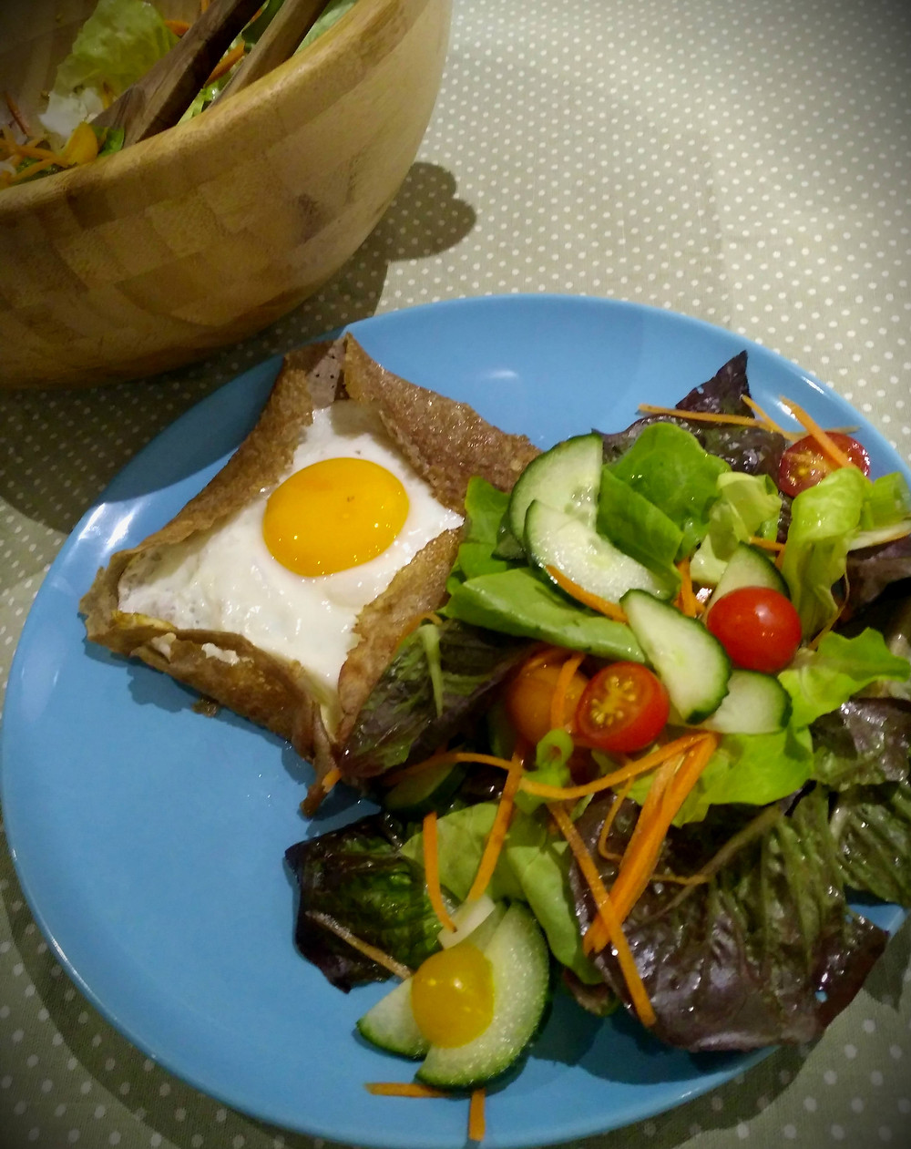 A picture of my galette complète, with salad on the side.