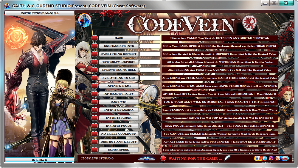 cloudend studio, Code Vein, Bandai Namco, cheats, trainer, code, mod, modded, tips, software, steam, pc, youtube, google, facebook, cheat engine, cheat table, free, script, tool, gameplay, game, dlc, unlock, 100%, items, rpg, achievements, cheat happens, eurogamer, 作弊, カンニング, カンニング竹山, tricher, tricks, engaños, トリック, 騙します, betrügen, trucchi, complete guide, 騙子, 사기꾼조심, 사기꾼들, 사기꾼, news, infinite health, ps4, xbox, Max Lvl, Youtube Game, Google Stadia, Epic Games, hack, glitch, news, dark fantasy, dark soul, Mia Karnstein, Louis, Io, Eva Roux, Yakumo Shinonome, multiplayer, blood veil,