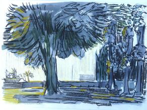 Outdoor work: Drawings, pastels, watercolors etc.