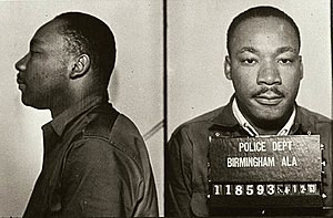Mugshot of Dr. Martin Luther King Junior for protesting segregation in Birmingham Alabama. Taken in Birmingham jail