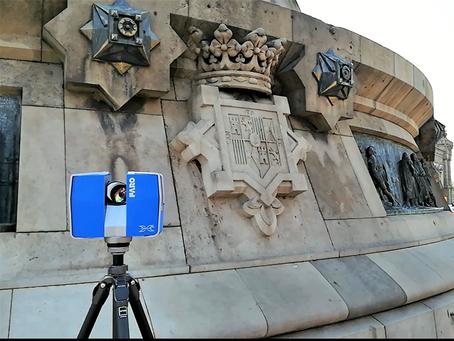 Escaneo y digitalización escudos de piedra del pedestal monumento a Colón (1888)