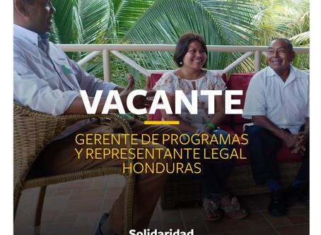 VACANTE: GERENTE DE PROGRAMAS Y REPRESENTANTE LEGAL HONDURAS