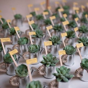 Use potted plants that they can take home, or have your guests search for their name on a display of garlands.