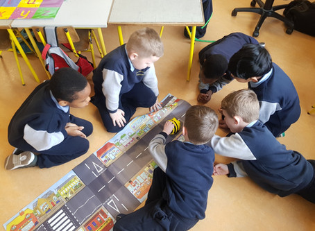 Bee bots fun in Ms.Nestor's Senior Infants
