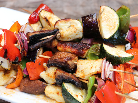 Char-grilled Vegetable and Halloumi Skewers