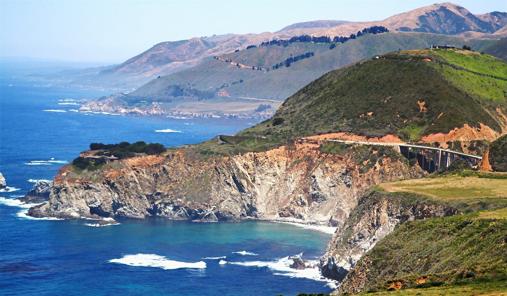 California coastline and mountains