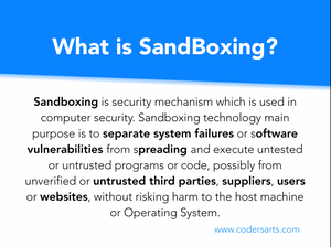 Sandboxing is security mechanism which is used in computer security. Sandboxing technology main purpose is to separate system failures or software vulnerabilities from spreading and execute untested or untrusted programs or code, possibly from unverified or untrusted third parties, suppliers, users or websites, without risking harm to the host machine or Operating System.