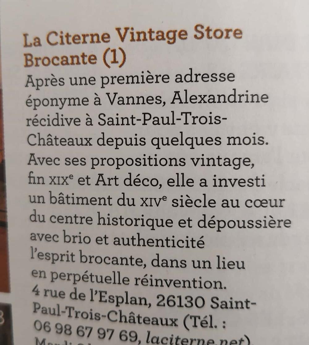 Merci au Magazine Campagne décoration d'avoir retenu La Citerne dans sa sélection de lieux pour chiner en France