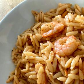 chilli prawns with kritharaki