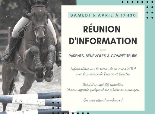 RÉUNION D'INFORMATION SAISON 2019