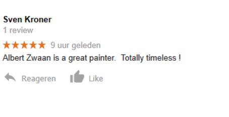 Mooi Compliment van de Duitse topschilder, Sven Kroner !