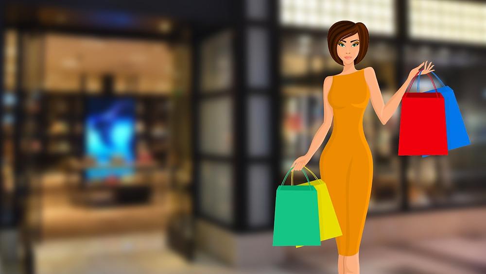 Mujer de compras, ilustración.