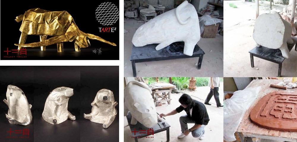 十二肖: Michael Lau 的鼠年雕塑及張義的牛年雕塑