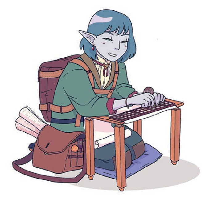 A blind, nonbinary moon elf kneels at a folding table. They're drafting a manuscript with a braille guilde and a stylus. Their bag is full of ornate styluses and finished manuscripts - Description provided by Astrolago Press