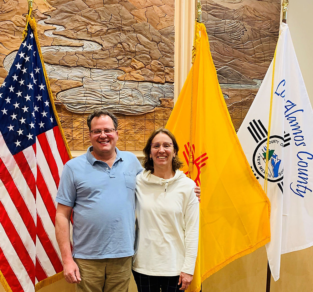 James Rickman and Caroline Spaeth pose at the Los Alamos County Council chambers after filing James' declaration of candidacy on March 10, 2020.