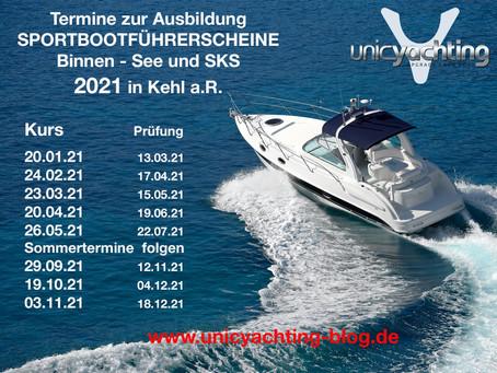 Die neuen Termine 2021 zur Ausbildung der Sportbootführerscheine Binnen - See und SKS