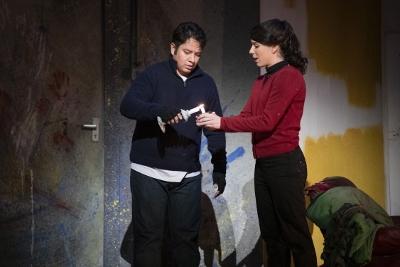 Eleazar Rodriguez as Rodolfo and Lauren Fagan as Mimì in Opera North's La Bohème c Richard H Smith